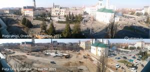 comparatie februarie martie 2015 Piata Unirii Oradea